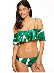 Ruffles Palm Tree Leaf Print Bikini