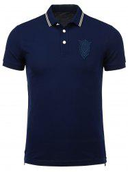 Patch Design Buttoned Hem Polo Shirt