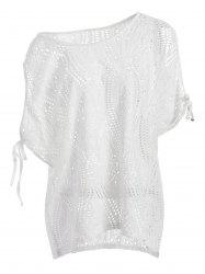 Cold Shoulder Batwing Beach Tunic Dress Cover Up - WHITE