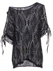 Cold Shoulder Batwing Beach Tunic Dress Cover Up - BLACK