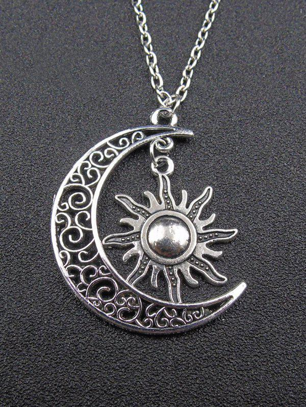 Moon Sun Pendant NecklaceJEWELRY<br><br>Color: SILVER; Item Type: Pendant Necklace; Gender: For Women; Necklace Type: Link Chain; Metal Type: Alloy; Style: Trendy; Shape/Pattern: Moon; Length: 50CM+Extension Chain:5CM; Weight: 0.0400kg; Package Contents: 1 x Necklace;