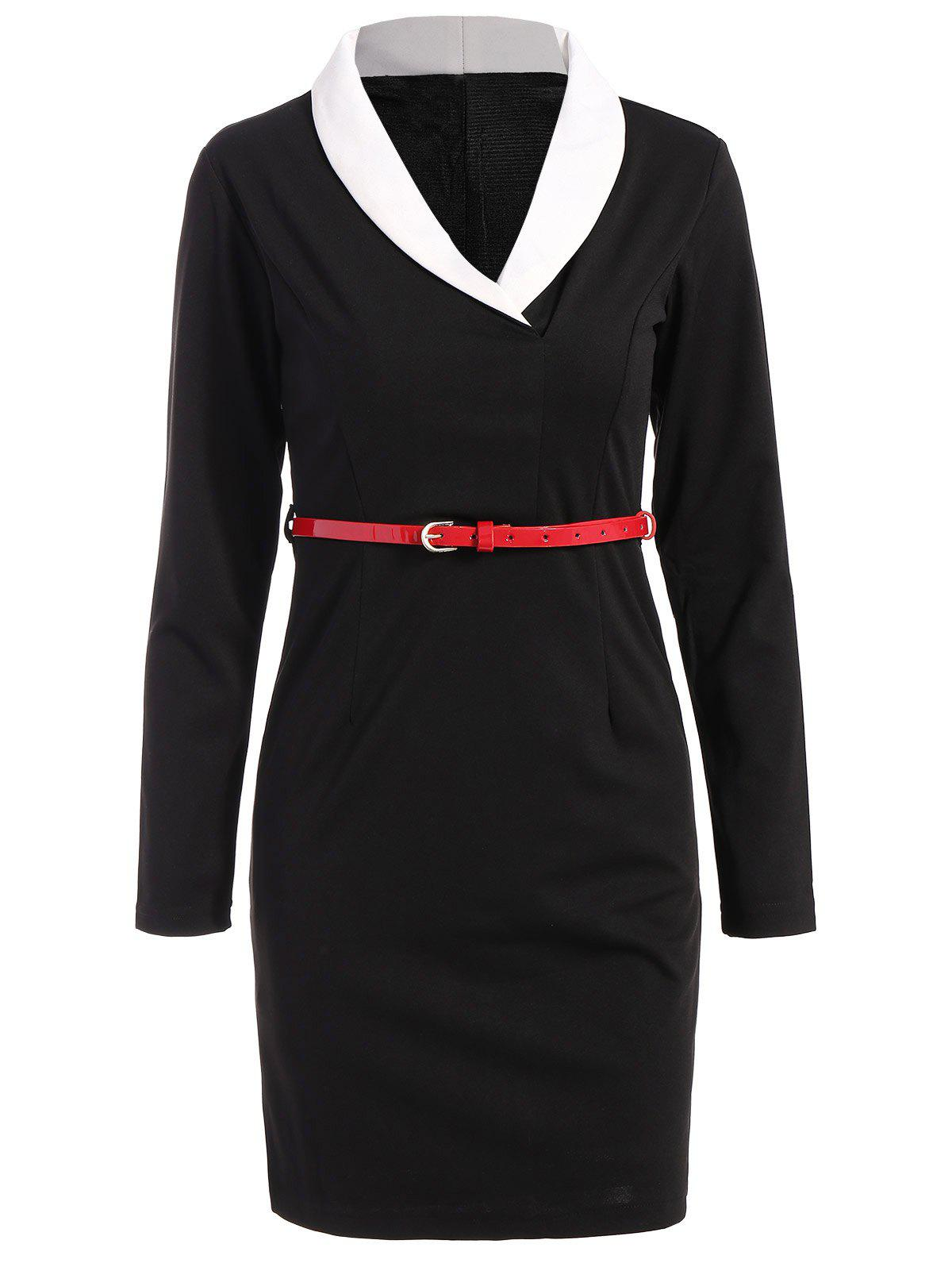 Best Belted Shawl Collar Sheath Long Sleeve Work Dress