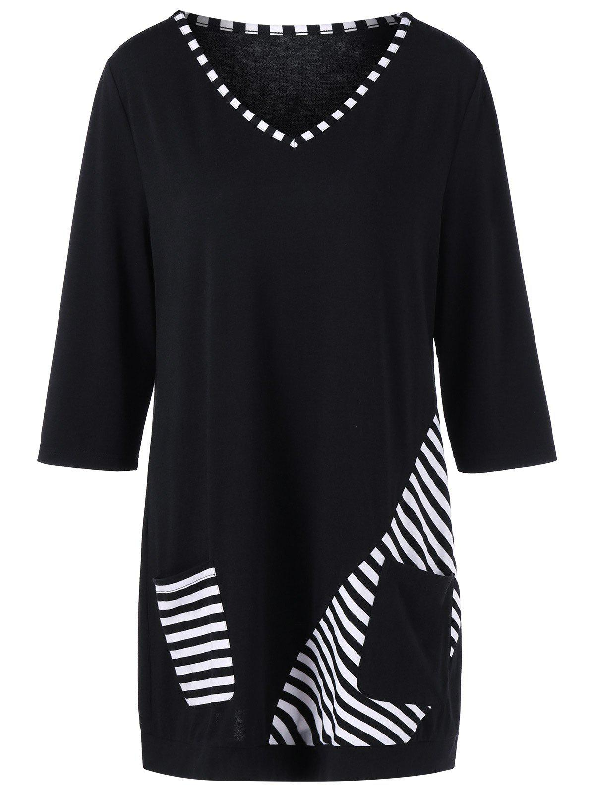 Plus Size Striped Trim Pockets Longline T-ShirtWOMEN<br><br>Size: 4XL; Color: WHITE AND BLACK; Material: Polyester,Spandex; Shirt Length: Long; Sleeve Length: Three Quarter; Collar: V-Neck; Style: Casual; Season: Summer; Pattern Type: Striped; Weight: 0.3600kg; Package Contents: 1 x T-Shirt;