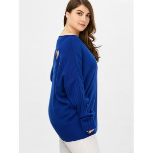 Plus Size Ribbed Cut Out Sweater - BLUE 5XL