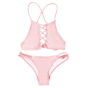 Halter Pink Hollow Out Bikini Set - PINK L