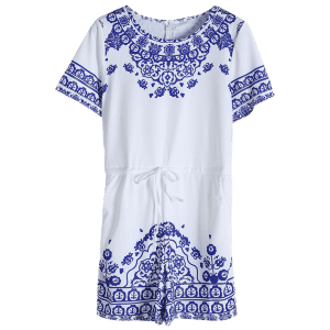 Short Sleeve Great Wall Print Porcelain Playsuit -