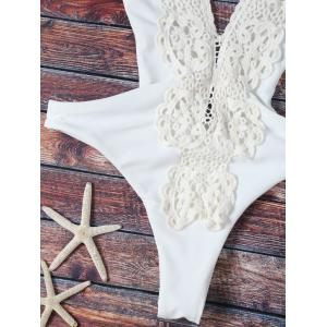 Trendy Plunging Neck High Cut Lace Spliced One Piece Swimwear For Women -