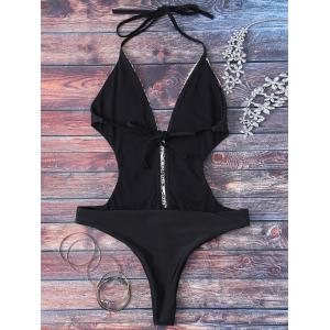 Trendy Plunging Neck High Cut Lace Spliced One Piece Swimwear For Women - BLACK L