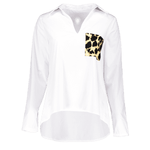 High Low Leopard Pocket Pullover Blouse - WHITE L