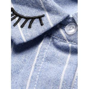 Oversized Embroidered Striped Chambray Work Shirt - BLUE L
