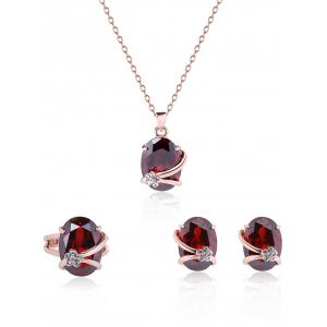 Oval Flower Fake Gem Wedding Jewelry Set