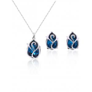 Artificial Sapphire Flower Pendant Necklace and Earrings - Blue