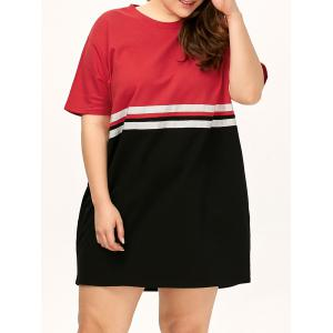 Plus Size Color Block Crew Neck Tee Dress - Red - One Size