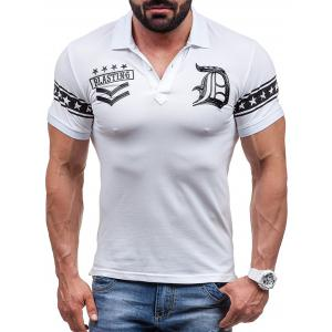 Graphic and Stars Print Short Sleeve Polo T-Shirt