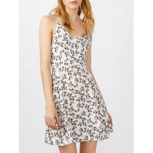 Spaghetti Strap Tiny Floral Print Mini Sundress - White - M