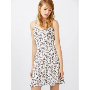 Spaghetti Strap Tiny Floral Print Mini Sundress - WHITE L