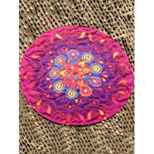 Ethnic Waterdrop Ombre Round Beach Cover Throw - Rose Madder - One Size