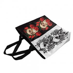 Rose and Skull Printed Canvas Shoulder Bag -