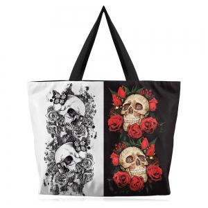 Rose and Skull Printed Canvas Shoulder Bag - White And Black - 44