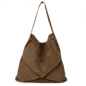Casual Slouch Canvas Shoulder Bag - Brown