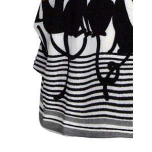 Cute Graphic Allover Print Oversized Tee - BLACK ONE SIZE