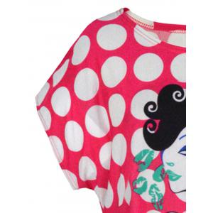 Allover Print Oversized Tee - ROSE MADDER ONE SIZE