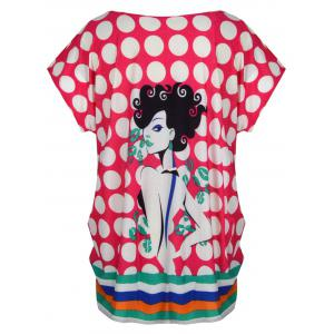 Cute Graphic Allover Print Oversized Tee - ROSE MADDER ONE SIZE