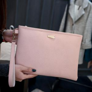 Metal Detail Clutch Bag with Wristlet -