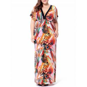Peacock Leather Printed Plus Size Maxi Dress