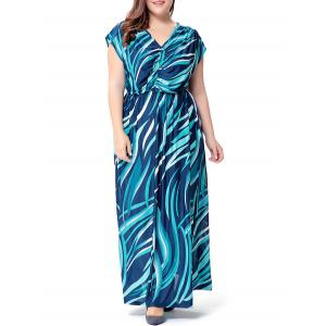Plus Size Wave Printed V Neck Maxi Dress - Lake Blue - 4xl