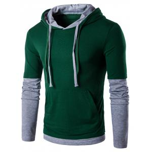 Panel Faux Twinset Hooded Drawstring T-Shirt - Blackish Green - L