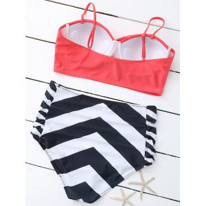 Plus Size Cute High Waist Striped Padded Bikini - COLORMIX 2XL