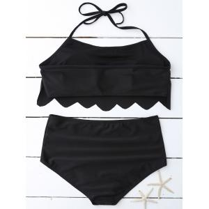 High Waist Scalloped Plus Size Bathing Suits -