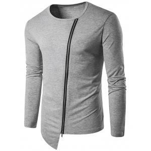 Oblique Zip Up Design Long Sleeve T-Shirt - Gray - M