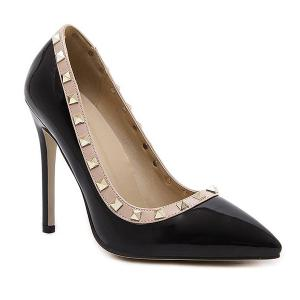 Metal Rivets Pointed Toe Pumps