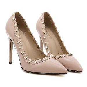 Metal Rivets Pointed Toe Pumps - APRICOT 37
