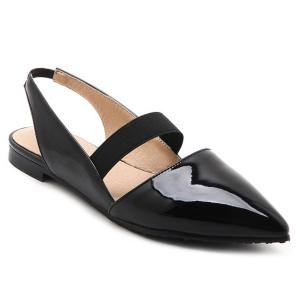Patent Leather Slingback Flat Shoes - Black - 37