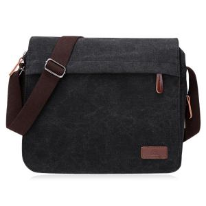Casual Flap Canvas Messenger Bag - Black