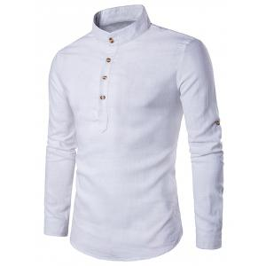 Cotton Linen Stand Collar Long Sleeve Shirt