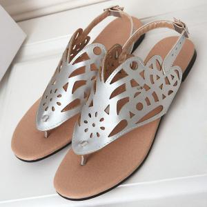 Hollow Out Flat Heel Sandals - SILVER 38