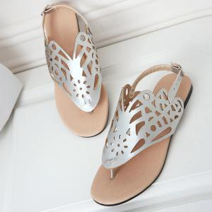 Hollow Out Flat Heel Sandals -