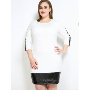 Faux Leather Trim Plus Size Sheath Bodycon Dress