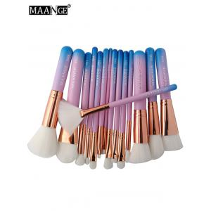 15 Pcs Mermaid Makeup Brushes Set - BLUE AND PINK