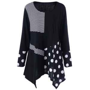 Plus Size Polka Dot Panel Asymmetrical T-Shirt - White And Black - 3xl