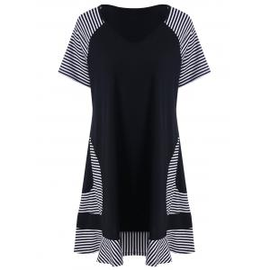 Plus Size Pinstripe Trim Longline T-Shirt - White And Black - 2xl