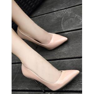 Patent Leather Stiletto Heel Pumps - APRICOT 40