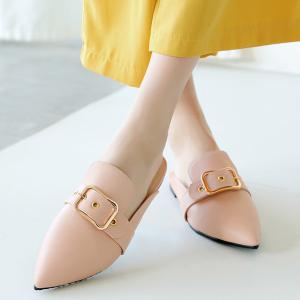 Belt Buckle Flat Heel Slippers - PINK 38