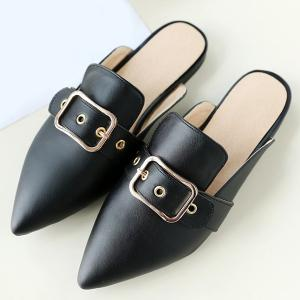 Belt Buckle Flat Heel Slippers -
