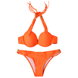 Stylish Halterneck Push Up Women's Bikini Set -