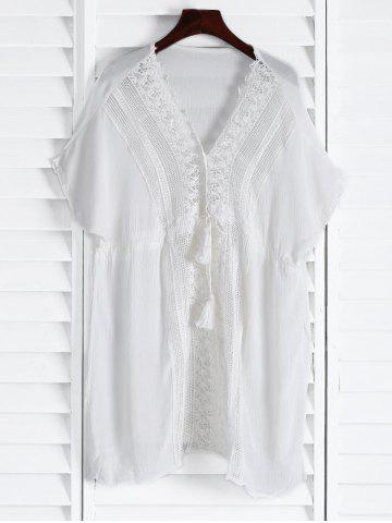 Online Plunging Neck Short Sleeve Hollow Out Women Cover-Up